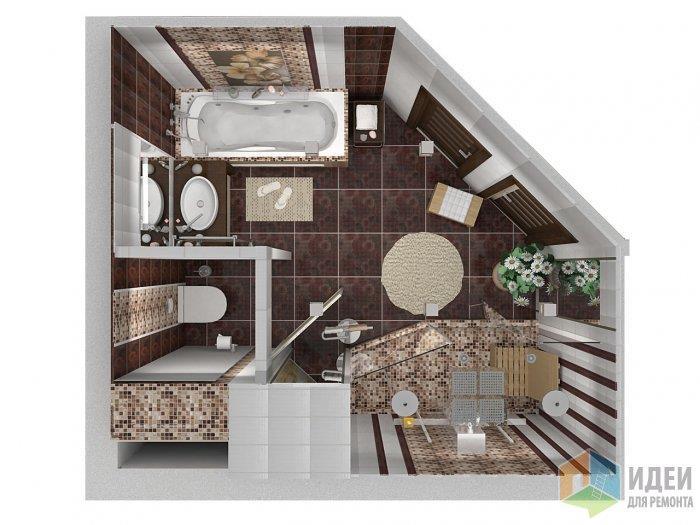 Несмотря на сложную геометрию примыкания ванной и душевой с блоком санузла - я оставила пол простым и однотонным, выложив из мозаики экран ванной, паддон душевого отсека и ниши на стенах