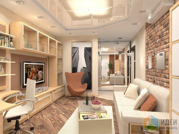 Несмотря на интересную отделку стен, пол также решен в зонировании по цвету, отделяя зону гостиной от зоны прихожей
