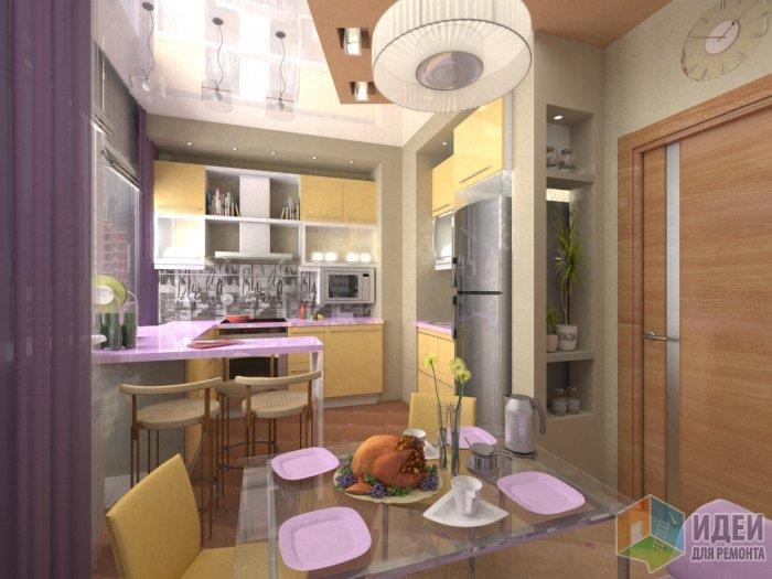 Интересна кухн тем, что геометрия потолка находит свой отклик в укладке напольной плитки