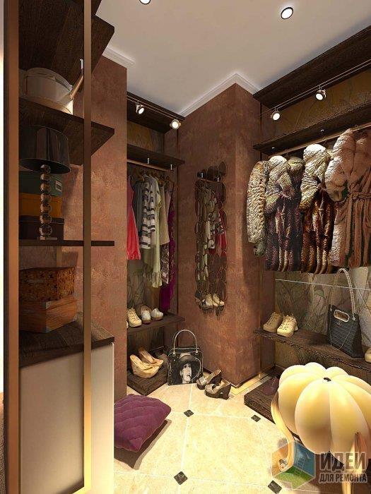 Насыщенные стены гардероба - светлый пол, пр исложной геометрии рекомендуется укладка плитки под углом и с декоративными вставками