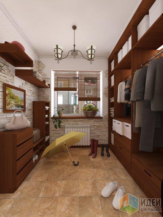 Довольно спокойный и уютный гардероб с плиткой под травертин придает еще больше тепла помещению