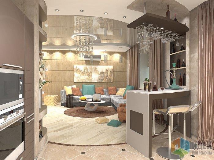 Еще один пример окгда кухня, столовая и гостиная являются студийным пространством, здесь также не обойтись от разделения на полу