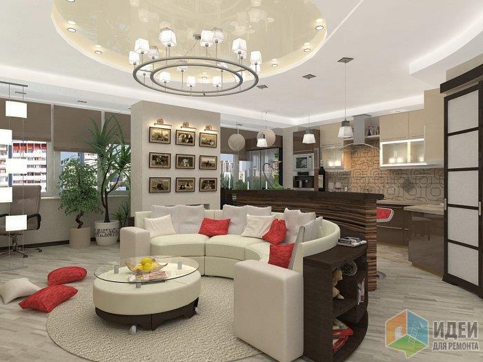 Здесь также имеет место быть разграничение общественной гостиной зоны от зоны кухни - на плитку и ламинат, удобно, красиво и практично!