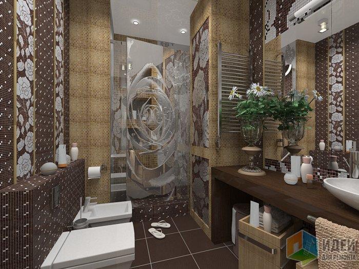 Неординарная ванная: применение мозаики в цветочном узоре не дает возможности делать контрастным пол