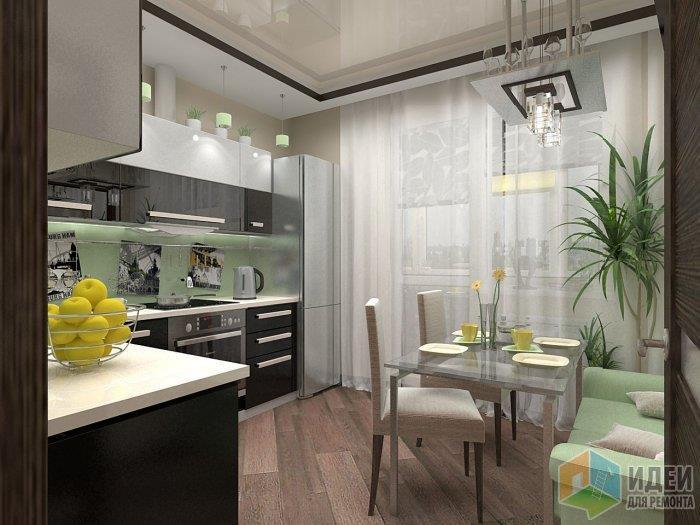 За счет темных кухонных фасадов и линии потолка - пол решено было сделать спокойным и нейтральным