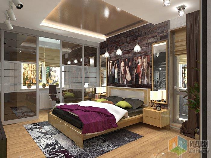 Контрастный декор в купе с ковром из шкур животных придают особый уют и тепло даже в такую современную спальню