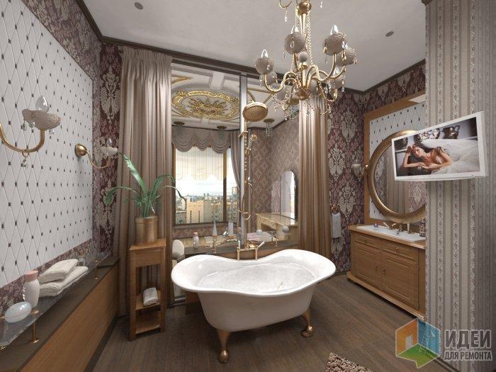 Ванная в классическом стиле: насыщенные стены - спокойный пол