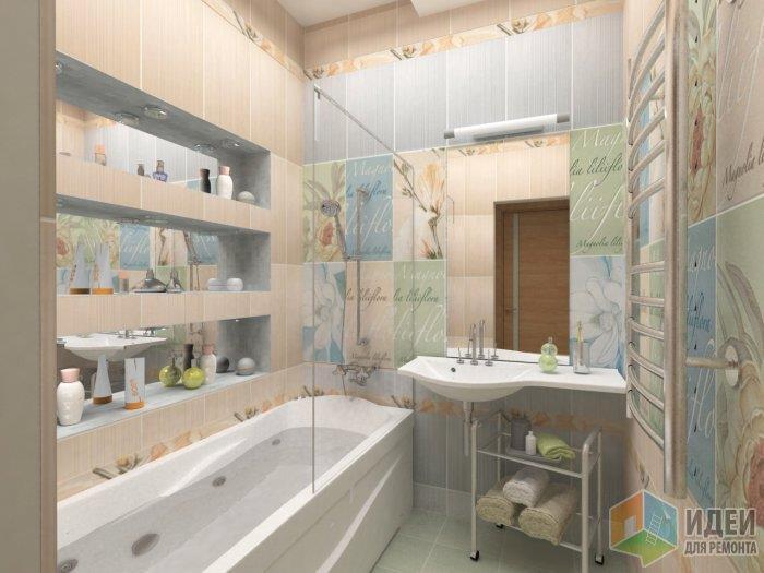 Хотя в отдлке данной ванной окмнаты применены исключительно пастельные тона коллекции плитки, полы я не рекомендую излишне перегружать, достаточно выложить их из однотонной плитки любого оттенка, который есть на стенах