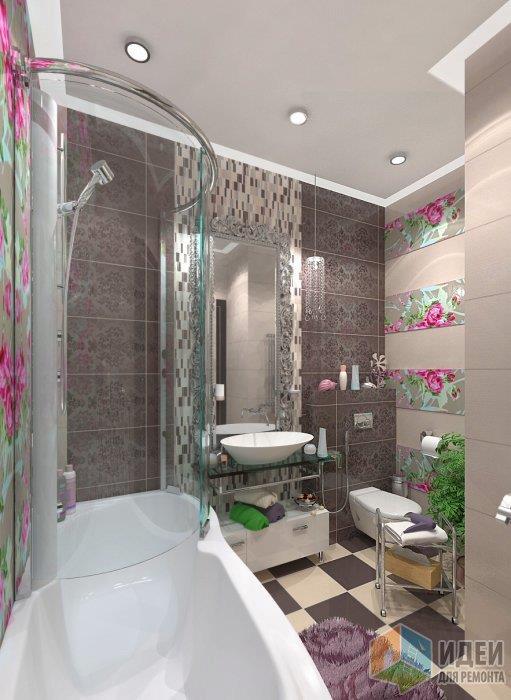 Интересная ванная: в даннм случае пол выложенный из разной плитки в шахматном порядке уровновешивает яркую отделку стен