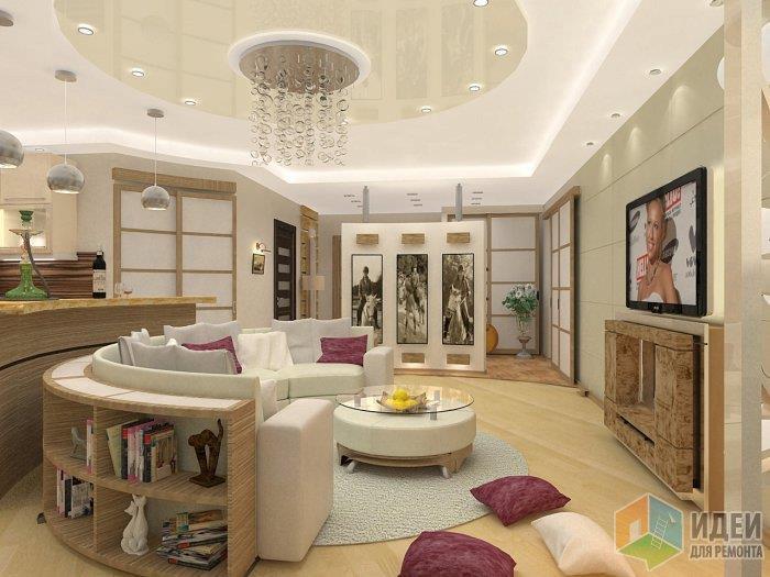 Обратите внимание - зона входа - прихожая также отделена от зоны гостиной материалами напольных покрытий на зоны!