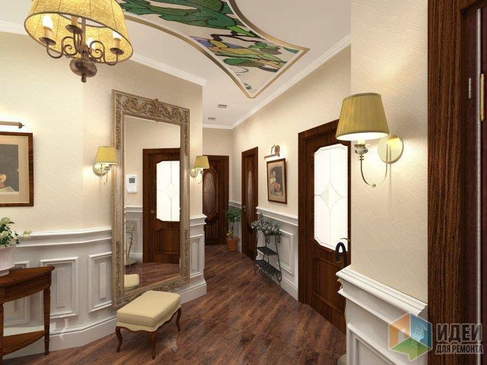 В этом случае пол наиболее темное пятно в коридоре, он держит стены и привязывает другие декоратиные элементы