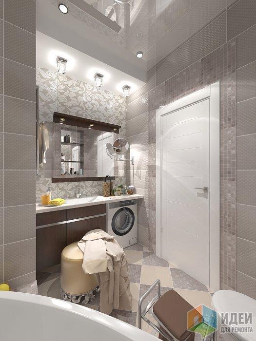 Для разнообразия в таком спокойном интерьере ванной комнаты я выложила пол также в шахматном порядке, но так чтобы он не привлекал излишнее внимание контрастными цветами