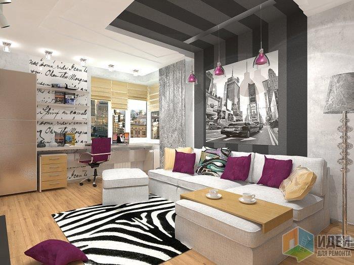 В данно мслучае ковер является доминантой в помещении и хорошо уровновешивает темно-серый выступ в стене и потолке