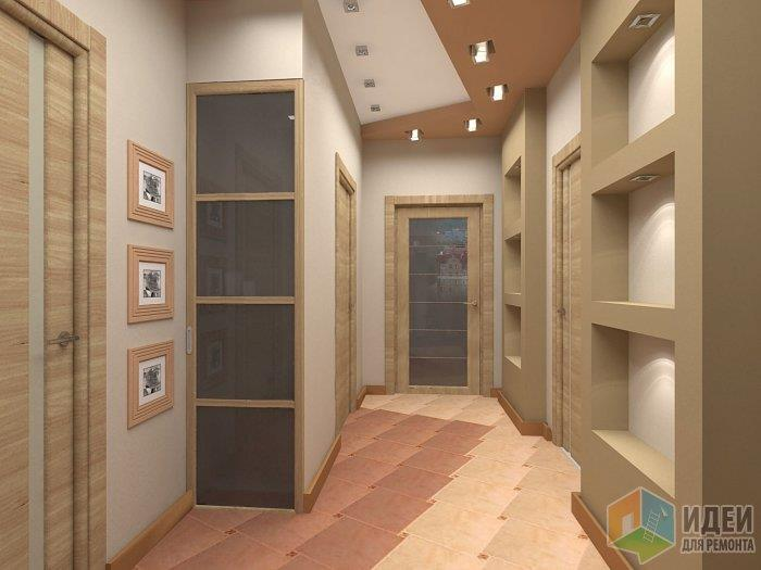 В данном случае пространство входной части квартиры за счет применения цвета и вторя линиям потолка выгодно переходит в парадную часть прихожей