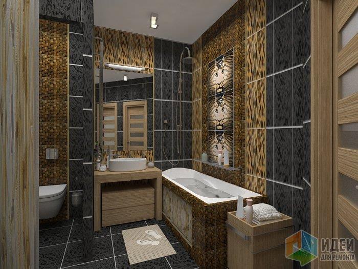 Если помещение ванной контрастно и выделенны стены - пол таже не должен спорить с ними и бросаться в глаза. В данном случае темный цвет, почти черной плитки - ведет себя как и светлые цвета - увеличивает помещение растворяя очертания углов