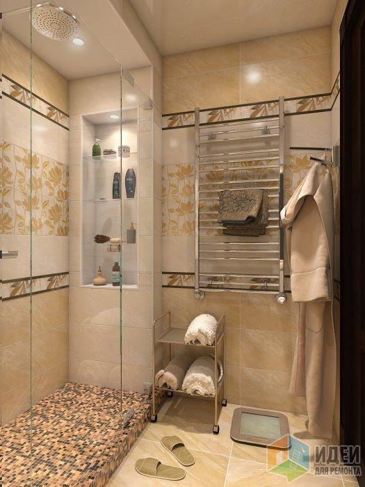 Теплая гамма решения ванной комнаты естесственно воспринимается при таком же однотонном напольном покрытии без каких-либо вставок, исключение - душевой уголок, выложенный из мозаики из той же коллекции