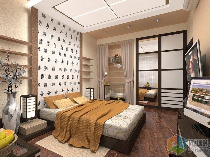 Положенный под неправильным углом ламинат - сбивает границы спальни, визуально увеличивая помещение