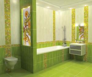 Фото зеленой плитки в интерьере ванной комнаты