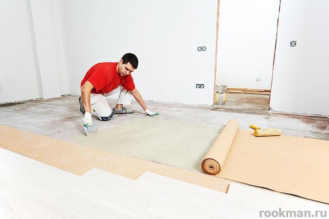 Пробковая подложка под ламинат служит в качестве звуко- и теплоизоляции
