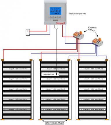 схема монтажа плёночного тёплого пола
