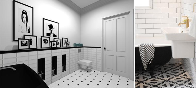 Плитка на пол белая с черными вставками, фото