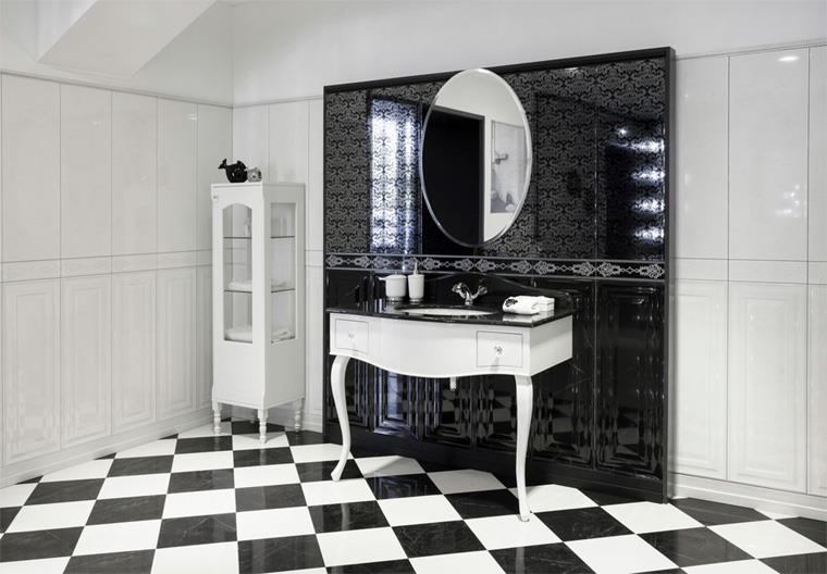 Черно-белая плитка в гламурной ванной комнате, фото