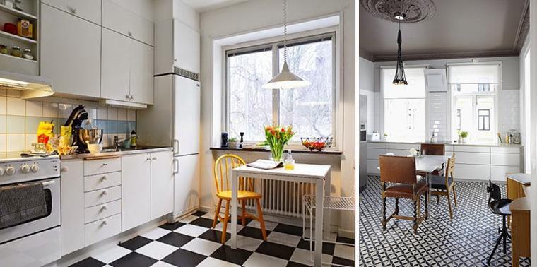 Оформление кухни в черно-белых тонах, фото