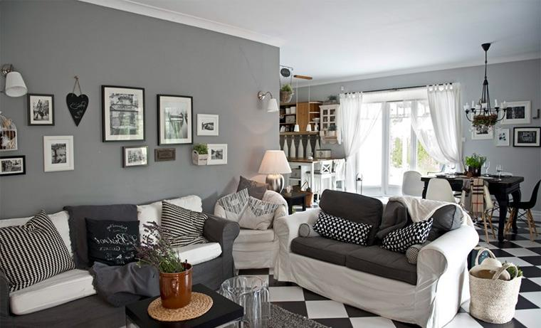 Гостиная в скандинавском стиле с эффектным контрастным напольным покрытием, фото