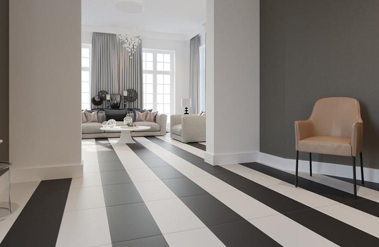 Продольные полосы в контрастных цветах на полу делают комнату длиннее визуально, фото