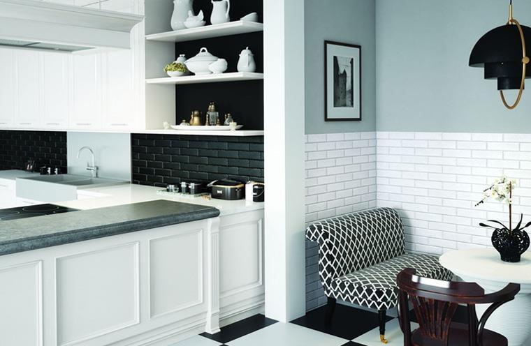 Плитка на кухню на пол черно-белая