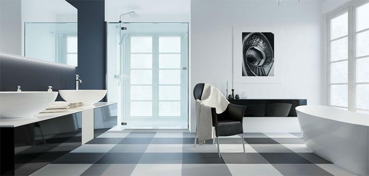 Черно-белая плитка на пол