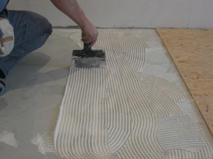 Укладка плит ОСБ на бетонную поверхность