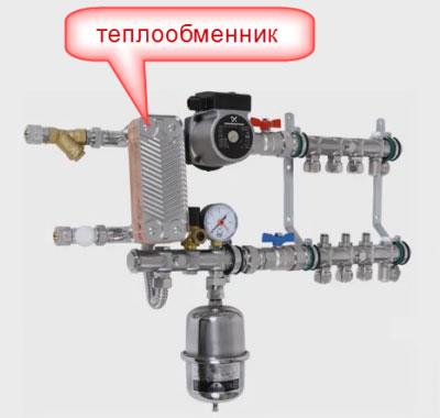 смесительный узел с теплообменником для водяного теплого пола в квартире