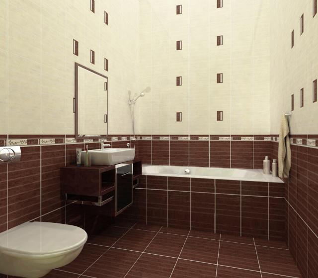 Средняя по размеру плитка на полу в ванной