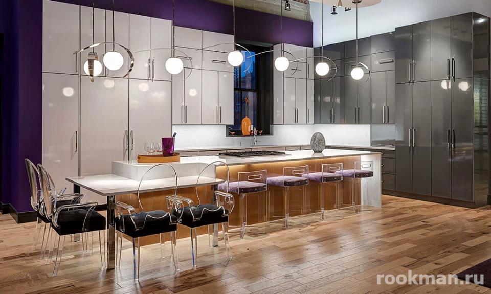 Фото глянцевого ламината 33 класса на кухне