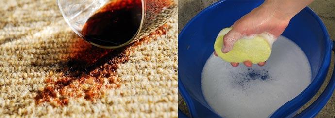 Пятно на ковре от вина и мыльный раствор
