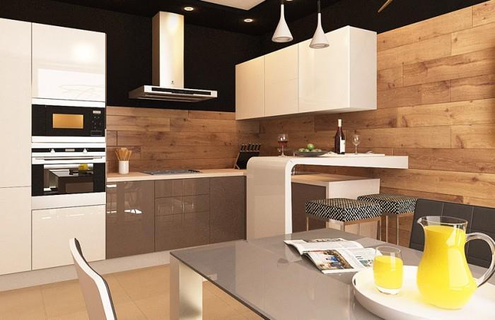 Отделка стен ламинатом на кухне