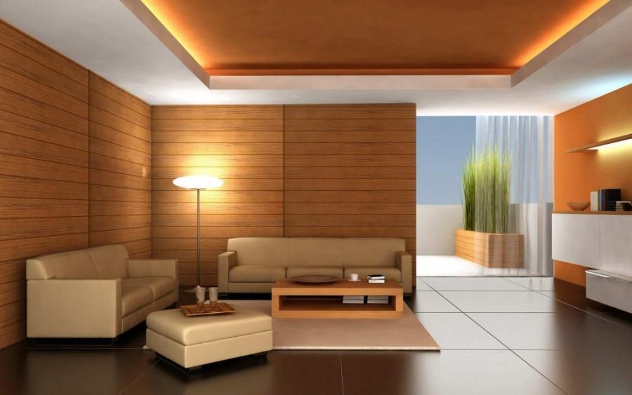 Отделка стен гостиной ламинатом без смещения