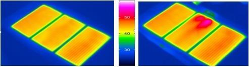 Слева - равномерный нагрев (Marpe), справа - неравномерный нагрев (другая пленка)