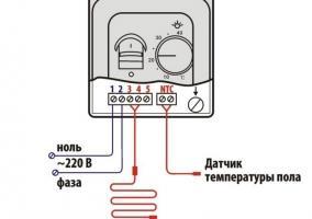 Схема подключения терморегулятора к теплому полу электрическому