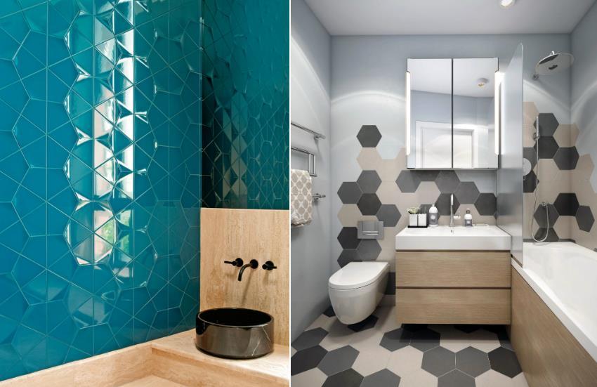 Керамическая плитка интересной формы способна привнести особую утонченность в интерьер ванной