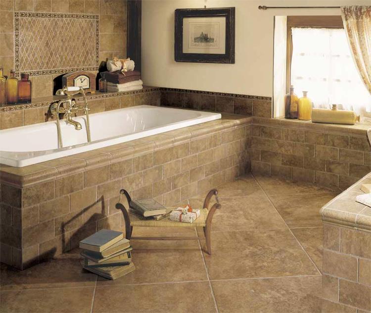 Плитка на плитку на пол в ванной