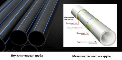 Так выглядят полипропиленовая и металлопластиковая трубы