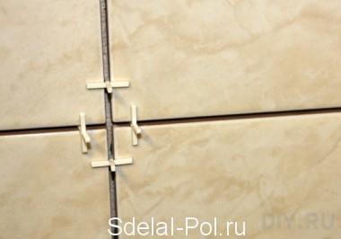 Установка крестиков в межплиточные швы