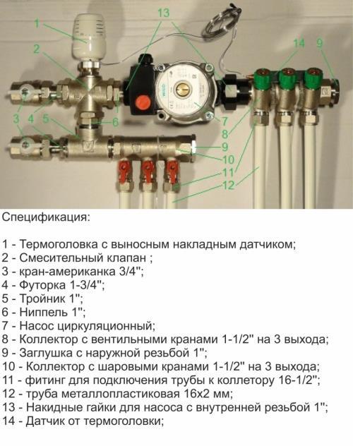 Смесительный узел для теплого пола Valtec на 2-4 контура (20-60 кв.м.) с автоматической регулировкой
