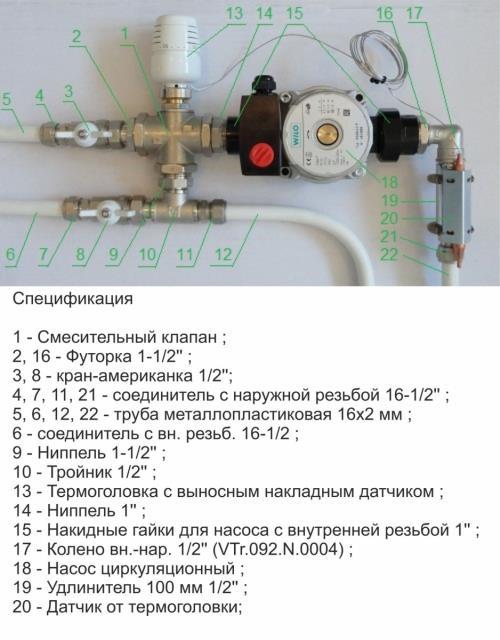 Смесительный узел для теплого пола Valtec на один контур (до 20 кв.м.) с автоматической регулировкой