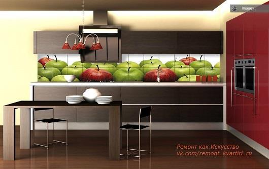 пано фотоплитка в интерьере кухни