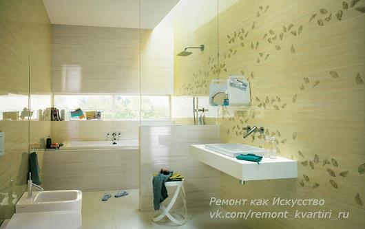 большая глянцевая керамическая плитка в ванную фото