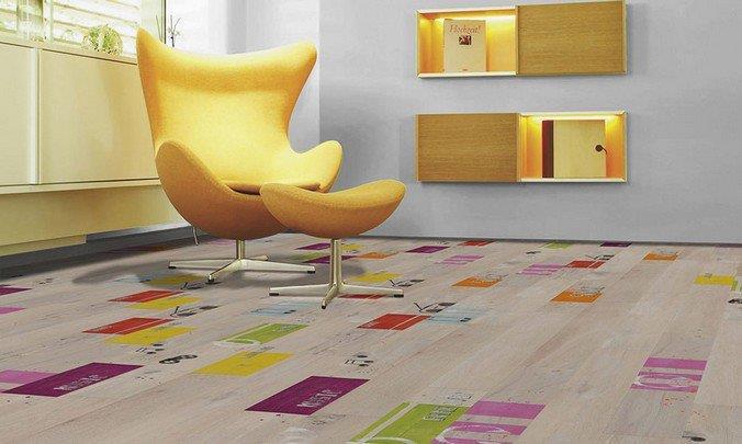 Цветной ламинат в интерьере в стиле минимализм