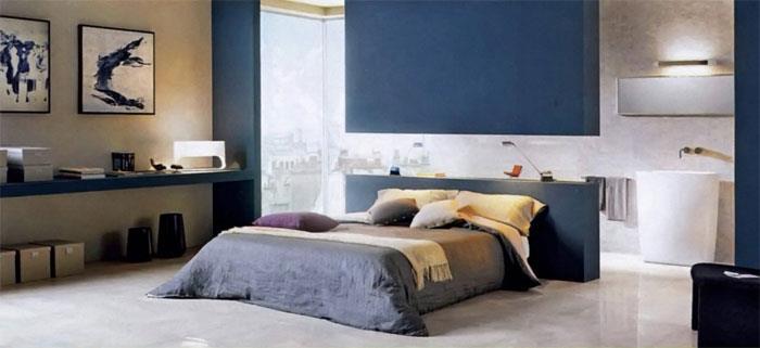 Как смотрится напольная плитка в спальне